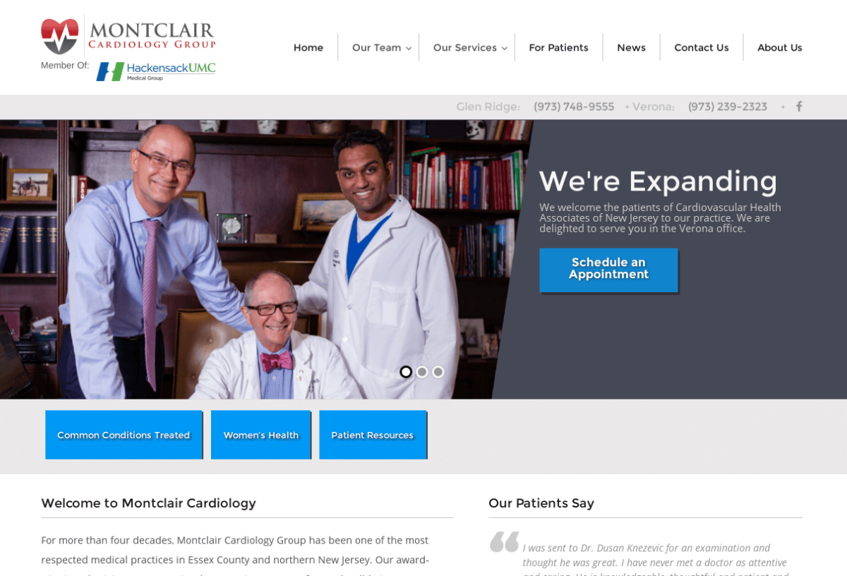 Screenshot of Montclair Cardiology's site
