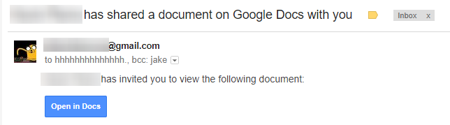 Example of Google Docs/Gmail Phishing Email